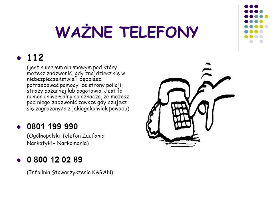 WAŻNE TELEFONY 112 (Infolinia Stowarzyszenia KARAN) 0801 199 990