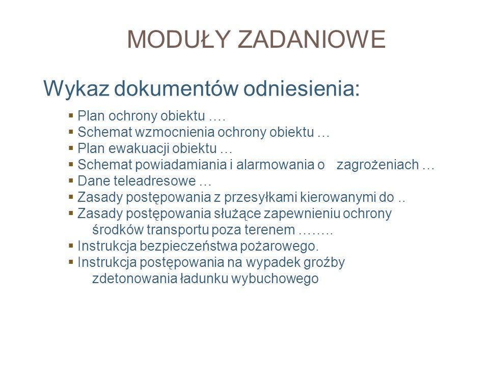 MODUŁY ZADANIOWE Wykaz dokumentów odniesienia: Plan ochrony obiektu ….