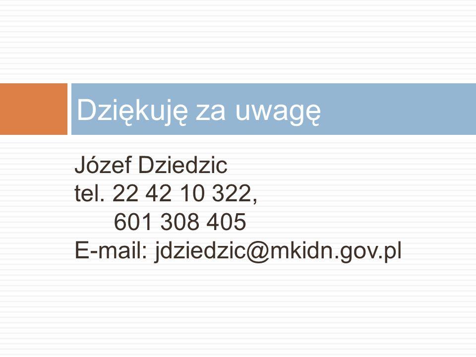 Dziękuję za uwagę Józef Dziedzic tel. 22 42 10 322, 601 308 405
