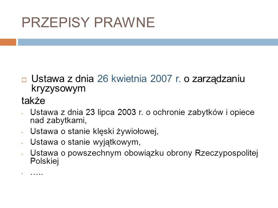 PRZEPISY PRAWNE Ustawa z dnia 26 kwietnia 2007 r. o zarządzaniu kryzysowym. także.