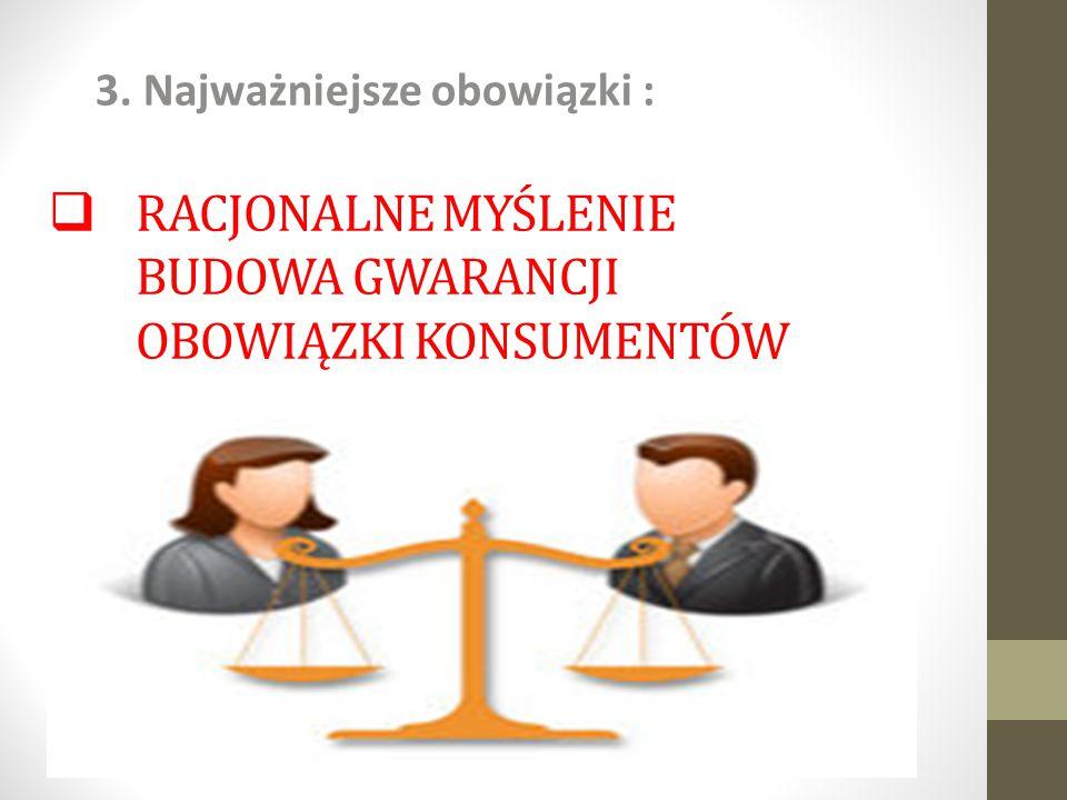 Racjonalne myślenie Budowa gwarancji Obowiązki konsumentów