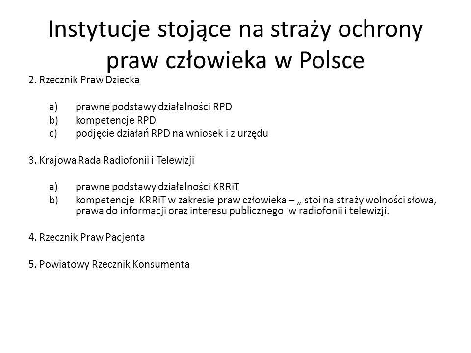 Instytucje stojące na straży ochrony praw człowieka w Polsce