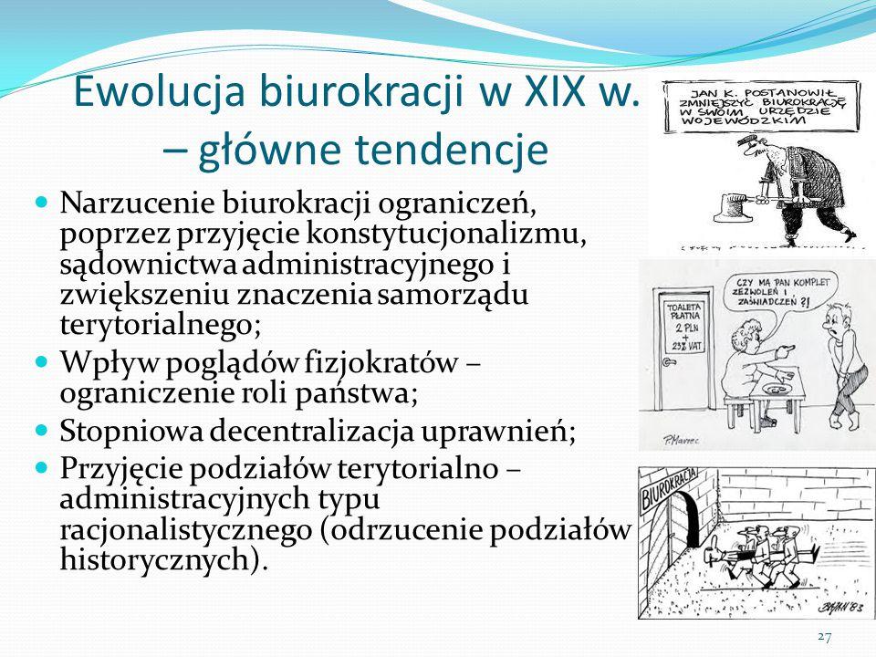 Ewolucja biurokracji w XIX w. – główne tendencje