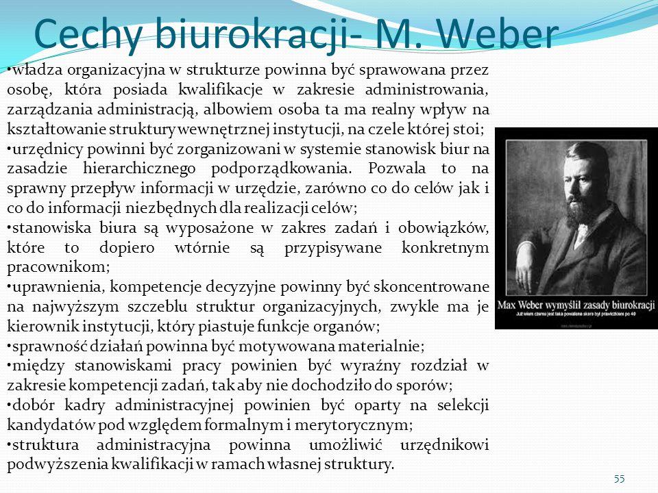 Cechy biurokracji- M. Weber