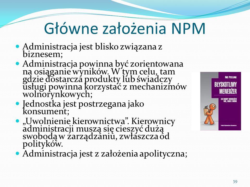 Główne założenia NPM Administracja jest blisko związana z biznesem;