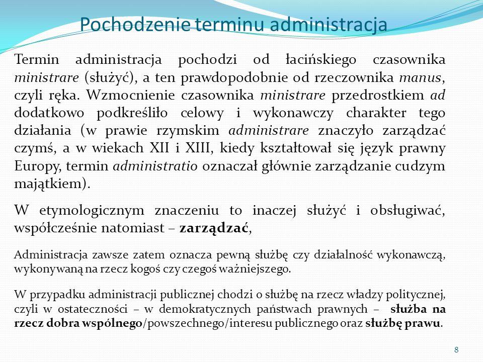 Pochodzenie terminu administracja