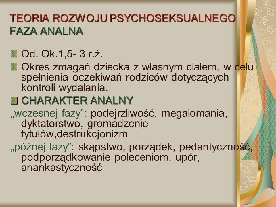 TEORIA ROZWOJU PSYCHOSEKSUALNEGO FAZA ANALNA