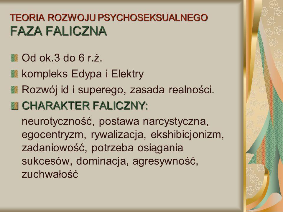 TEORIA ROZWOJU PSYCHOSEKSUALNEGO FAZA FALICZNA