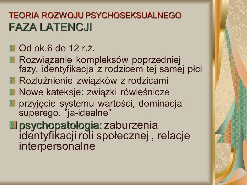 TEORIA ROZWOJU PSYCHOSEKSUALNEGO FAZA LATENCJI