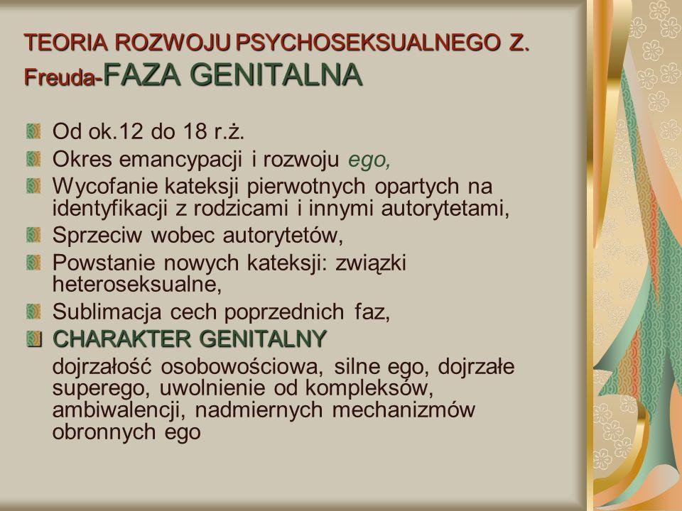 TEORIA ROZWOJU PSYCHOSEKSUALNEGO Z. Freuda-FAZA GENITALNA