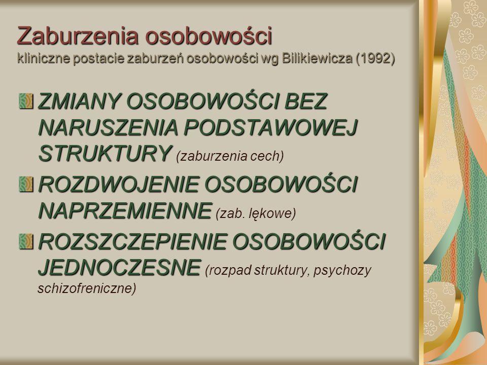 Zaburzenia osobowości kliniczne postacie zaburzeń osobowości wg Bilikiewicza (1992)