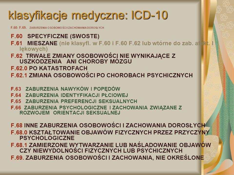 klasyfikacje medyczne: ICD-10