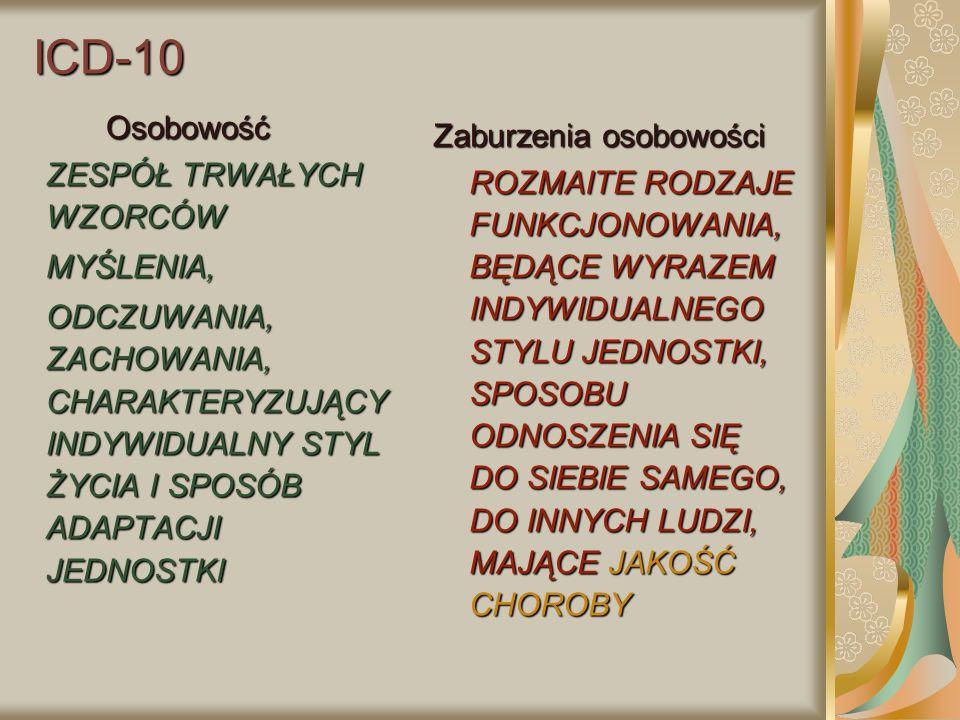 ICD-10 Osobowość ZESPÓŁ TRWAŁYCH WZORCÓW MYŚLENIA,