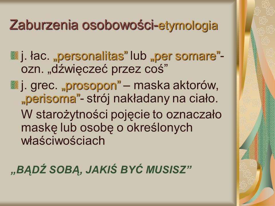 Zaburzenia osobowości-etymologia