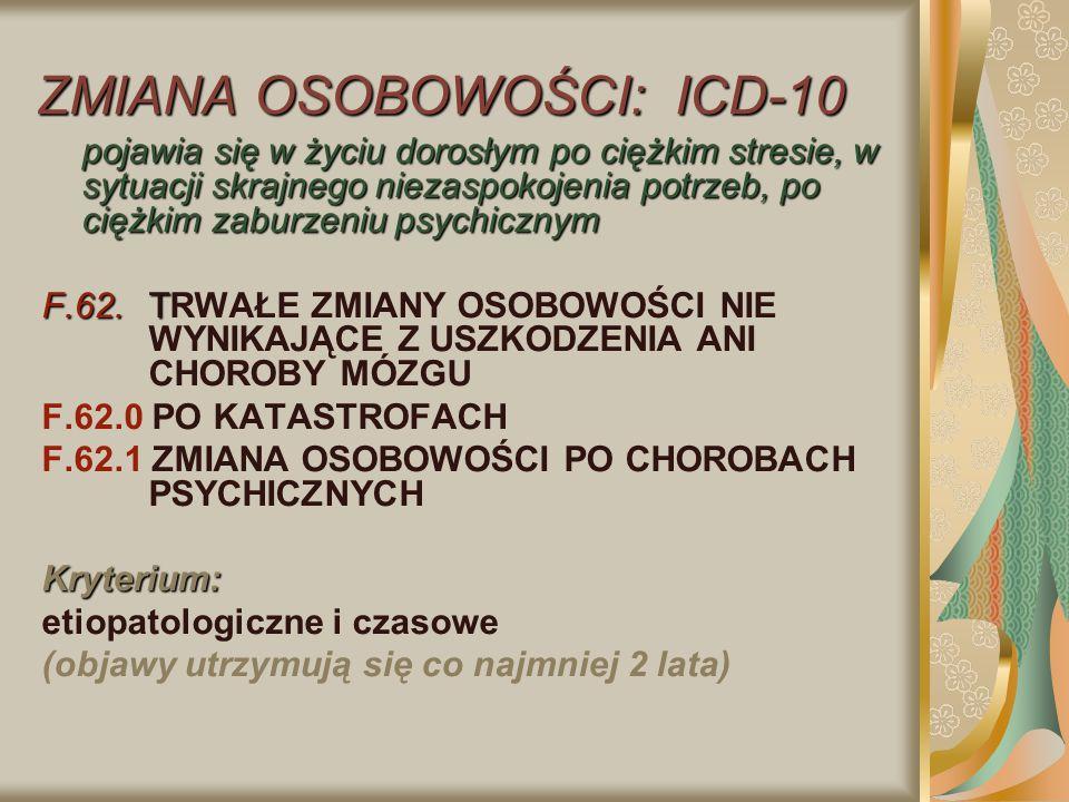 ZMIANA OSOBOWOŚCI: ICD-10