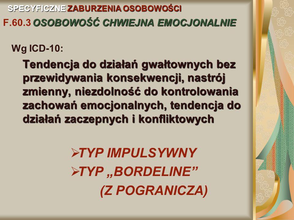 """TYP IMPULSYWNY TYP """"BORDELINE (Z POGRANICZA) Wg ICD-10:"""