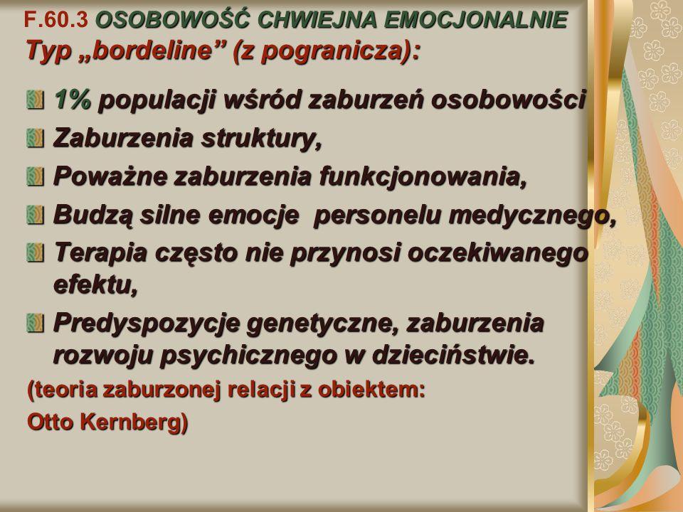 """F.60.3 OSOBOWOŚĆ CHWIEJNA EMOCJONALNIE Typ """"bordeline (z pogranicza):"""