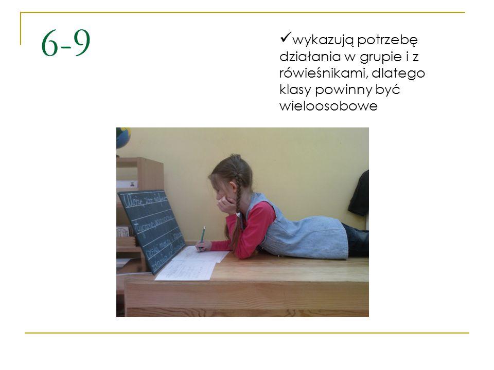 6-9 wykazują potrzebę działania w grupie i z rówieśnikami, dlatego klasy powinny być wieloosobowe