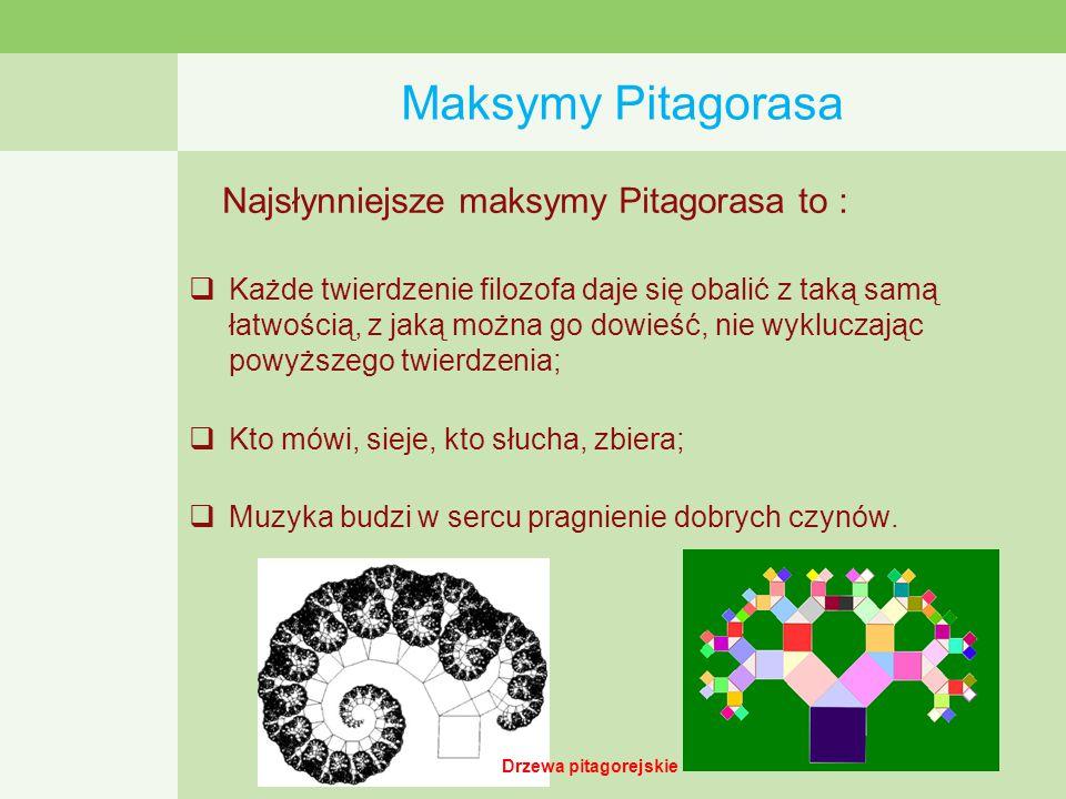 Maksymy Pitagorasa Najsłynniejsze maksymy Pitagorasa to :