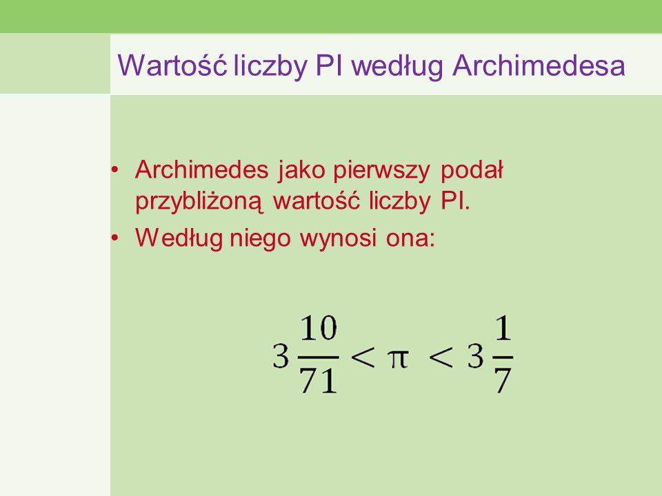 Wartość liczby PI według Archimedesa