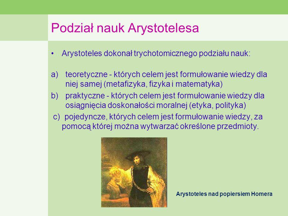Podział nauk Arystotelesa