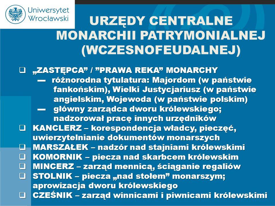 URZĘDY CENTRALNE MONARCHII PATRYMONIALNEJ (WCZESNOFEUDALNEJ)