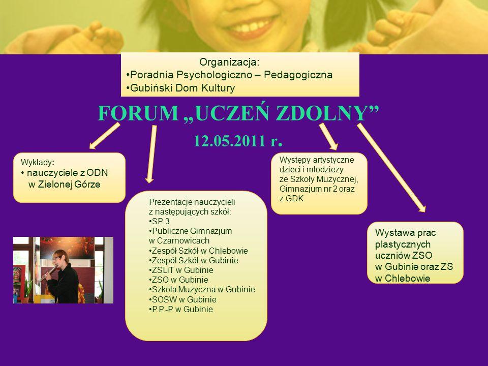 """FORUM """"UCZEŃ ZDOLNY 12.05.2011 r. Organizacja:"""