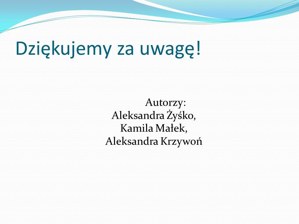 Autorzy: Aleksandra Żyśko, Kamila Małek, Aleksandra Krzywoń