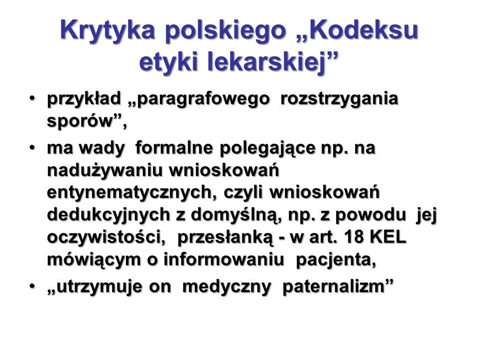 """Krytyka polskiego """"Kodeksu etyki lekarskiej"""