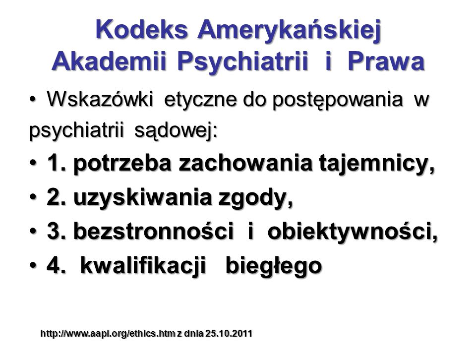 Kodeks Amerykańskiej Akademii Psychiatrii i Prawa