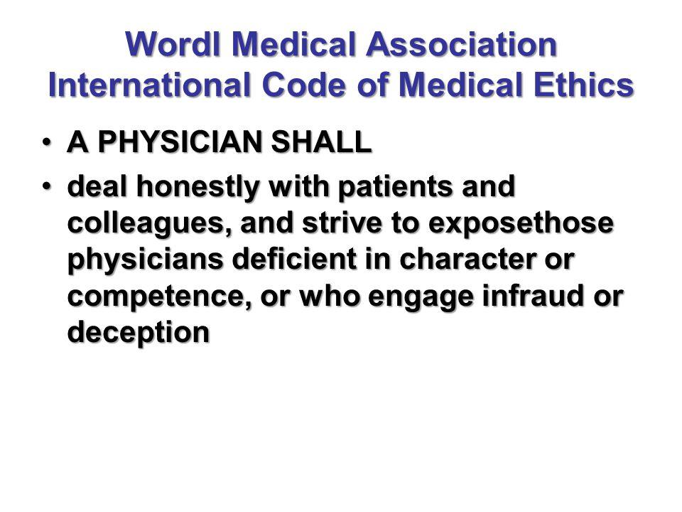 Wordl Medical Association International Code of Medical Ethics