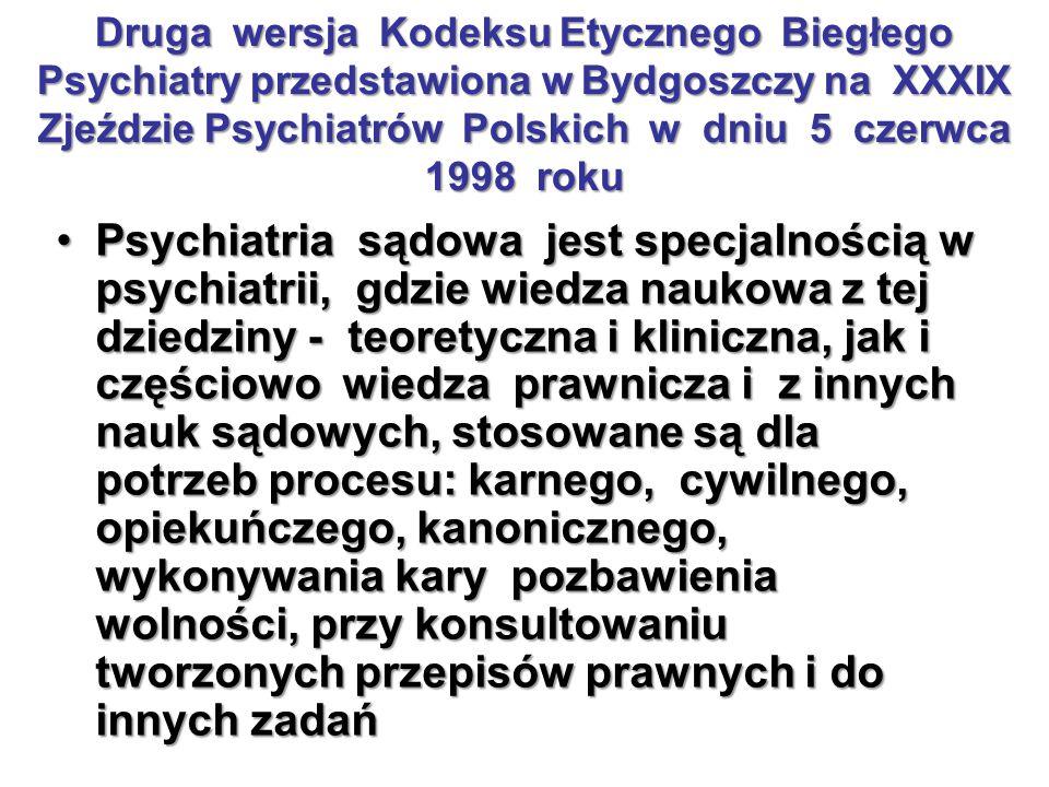 Druga wersja Kodeksu Etycznego Biegłego Psychiatry przedstawiona w Bydgoszczy na XXXIX Zjeździe Psychiatrów Polskich w dniu 5 czerwca 1998 roku