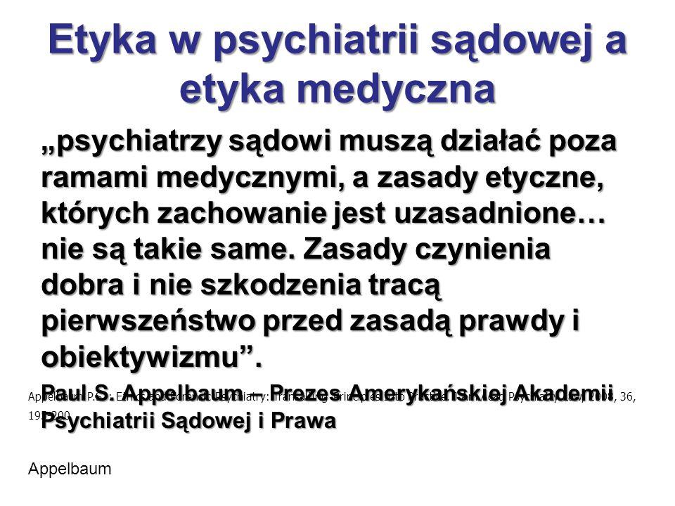 Etyka w psychiatrii sądowej a etyka medyczna