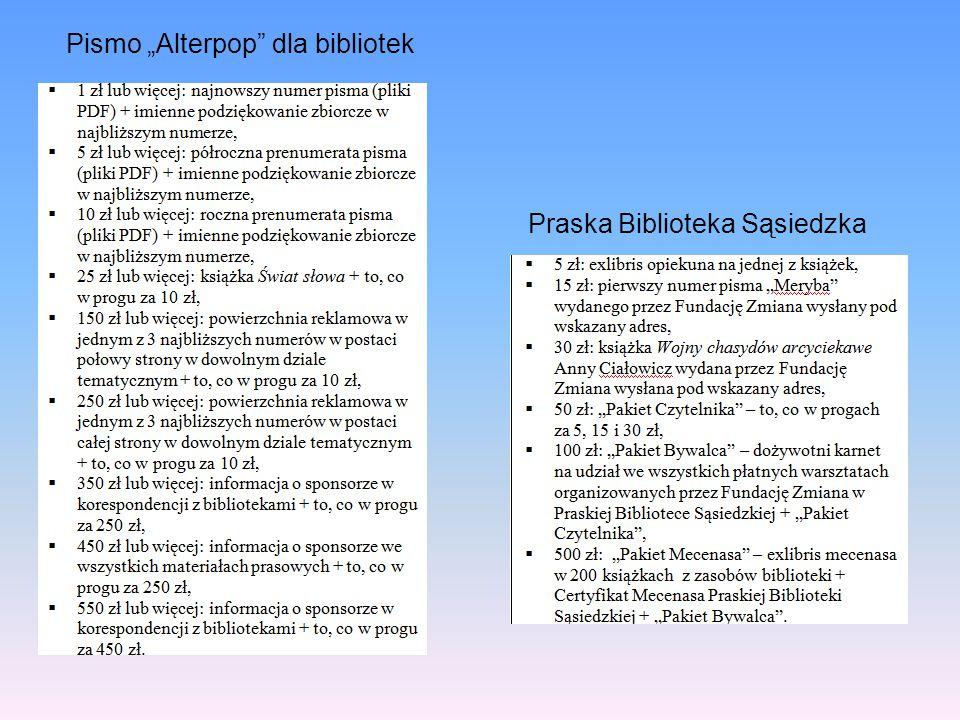 """Pismo """"Alterpop dla bibliotek"""