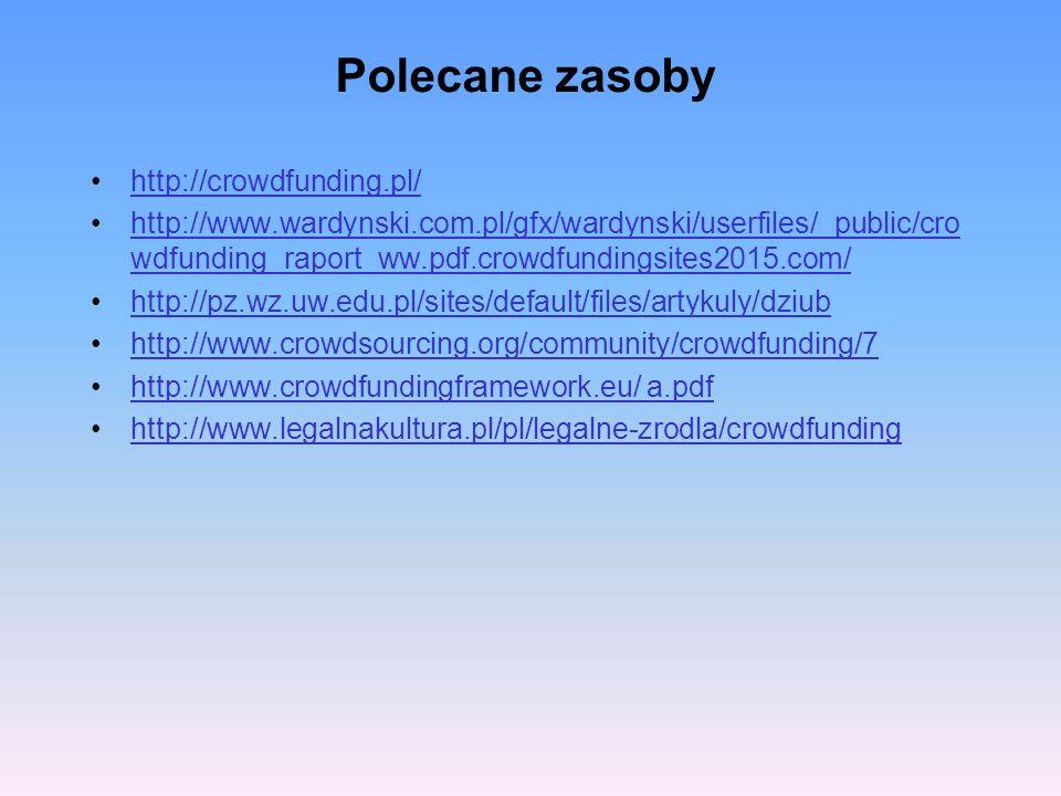 Polecane zasoby http://crowdfunding.pl/