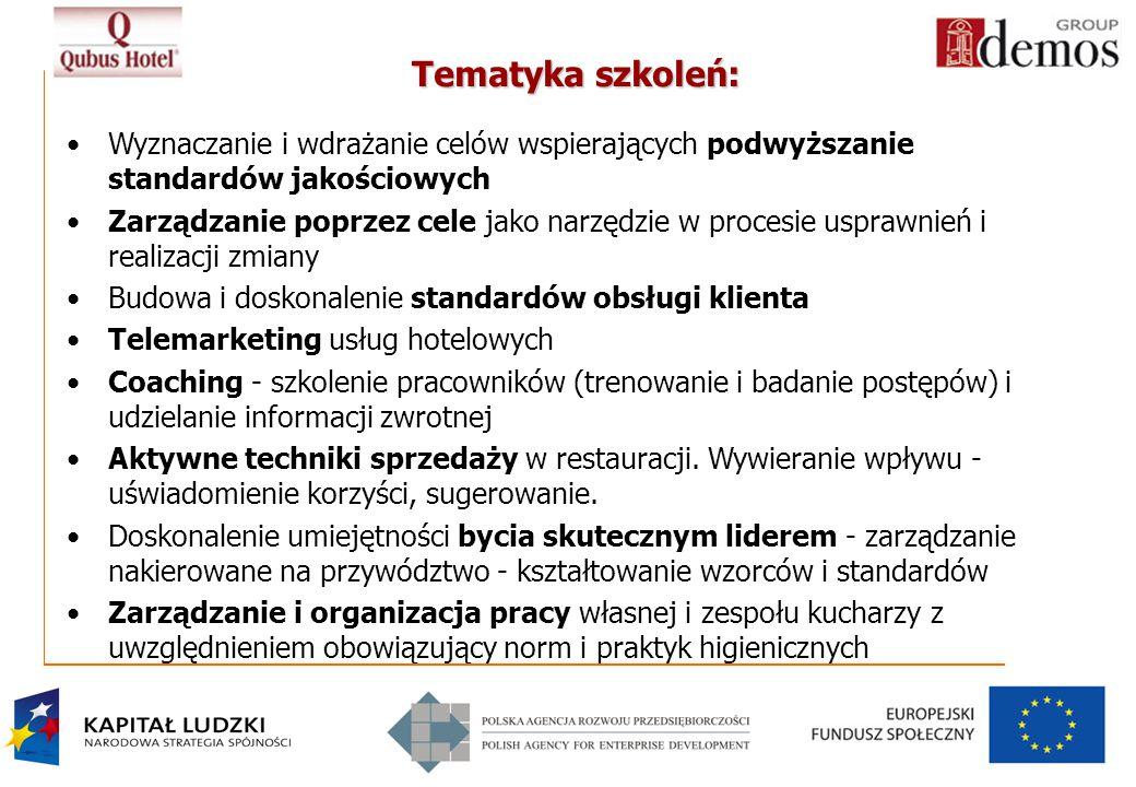 Tematyka szkoleń: Wyznaczanie i wdrażanie celów wspierających podwyższanie standardów jakościowych.