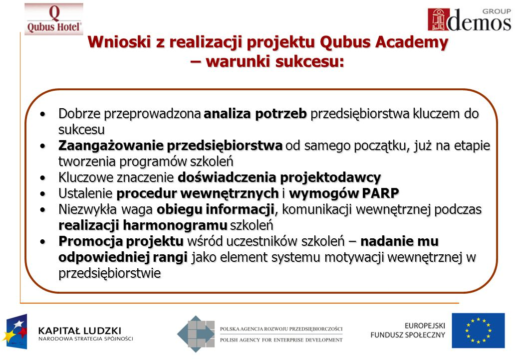Wnioski z realizacji projektu Qubus Academy