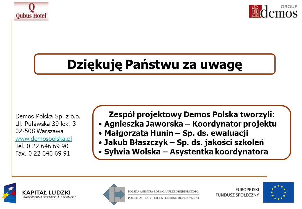 Dziękuję Państwu za uwagę Zespół projektowy Demos Polska tworzyli: