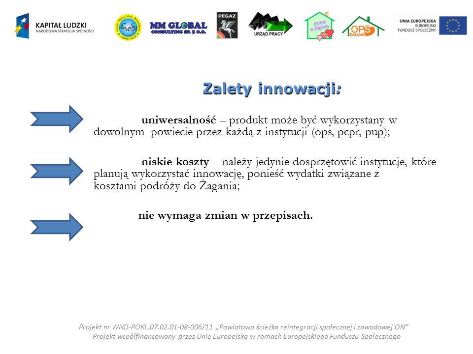 Zalety innowacji: uniwersalność – produkt może być wykorzystany w dowolnym powiecie przez każdą z instytucji (ops, pcpr, pup);