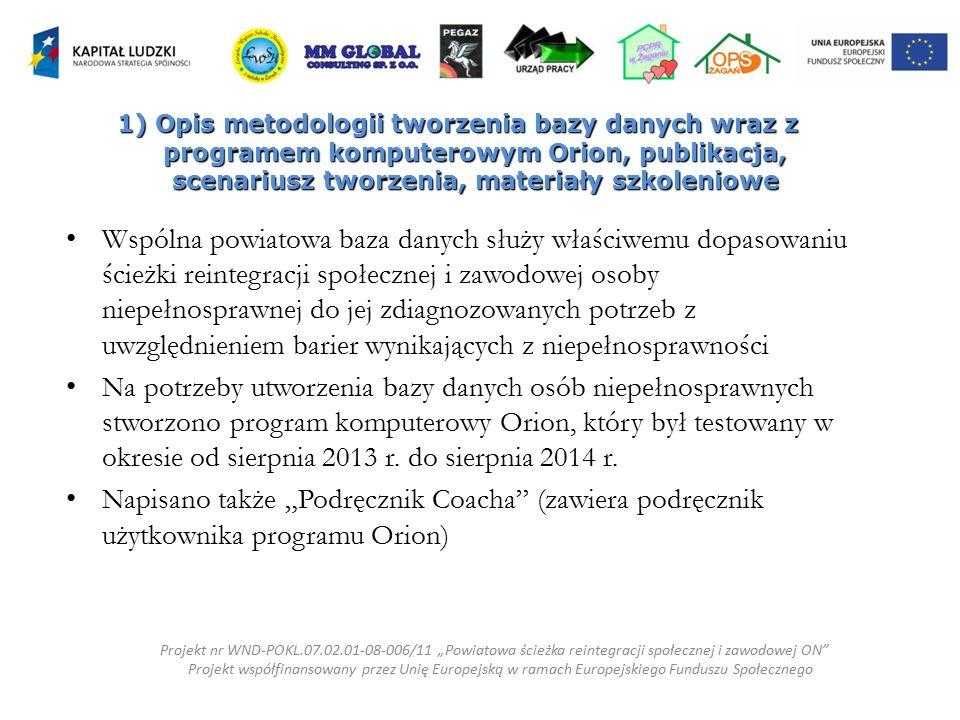 1) Opis metodologii tworzenia bazy danych wraz z programem komputerowym Orion, publikacja, scenariusz tworzenia, materiały szkoleniowe