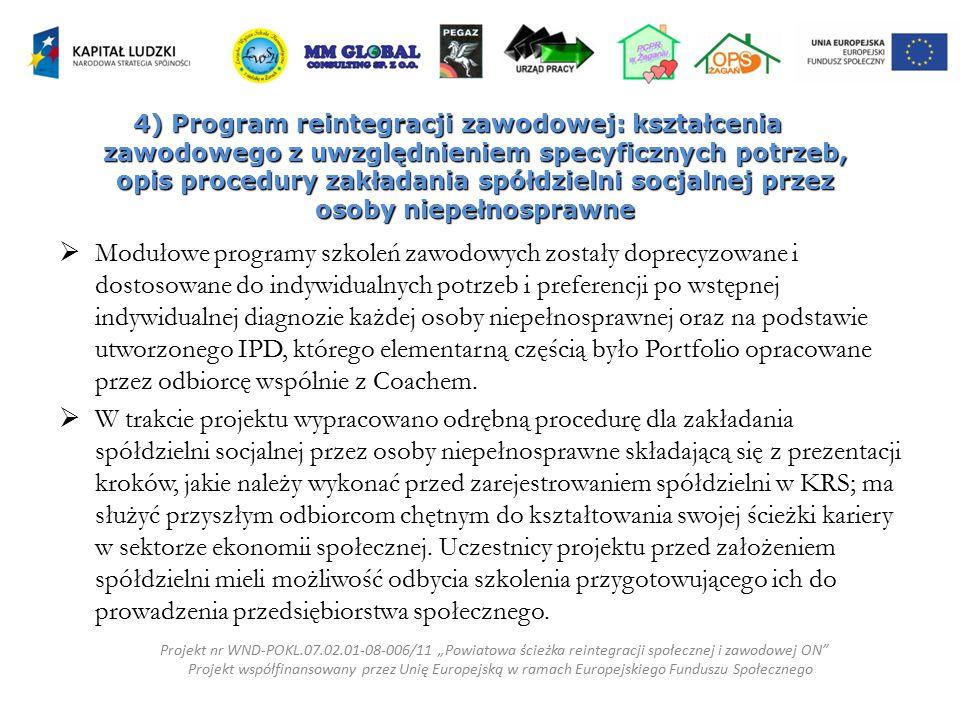 4) Program reintegracji zawodowej: kształcenia zawodowego z uwzględnieniem specyficznych potrzeb, opis procedury zakładania spółdzielni socjalnej przez osoby niepełnosprawne