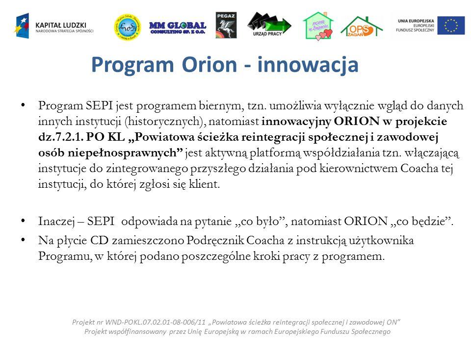 Program Orion - innowacja