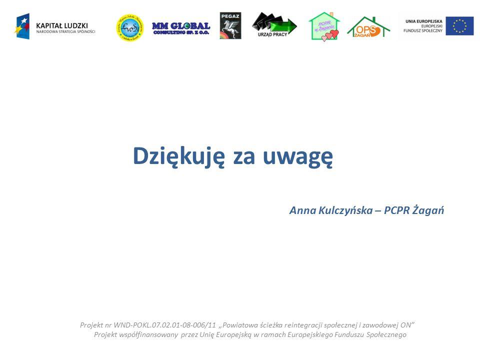 Dziękuję za uwagę Anna Kulczyńska – PCPR Żagań