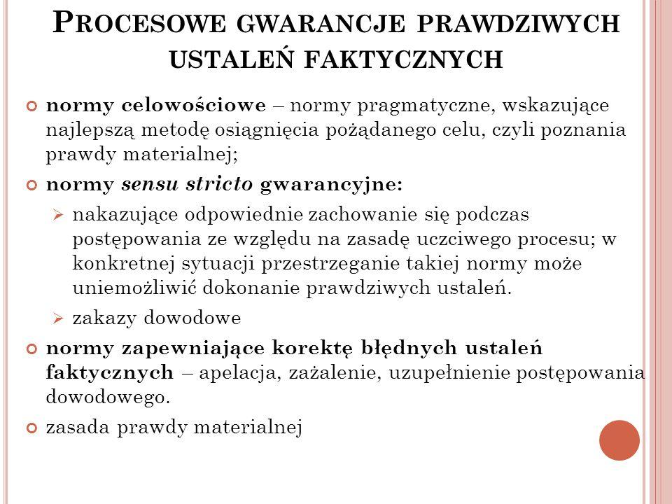 Procesowe gwarancje prawdziwych ustaleń faktycznych