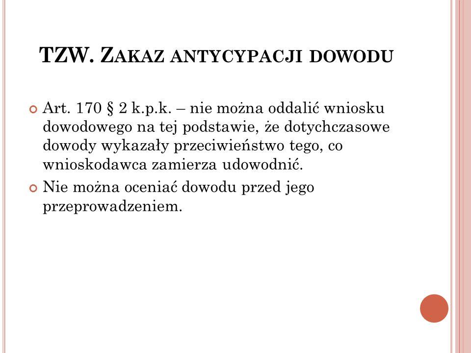 TZW. Zakaz antycypacji dowodu