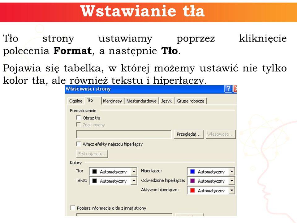 Wstawianie tła Tło strony ustawiamy poprzez kliknięcie polecenia Format, a następnie Tło.