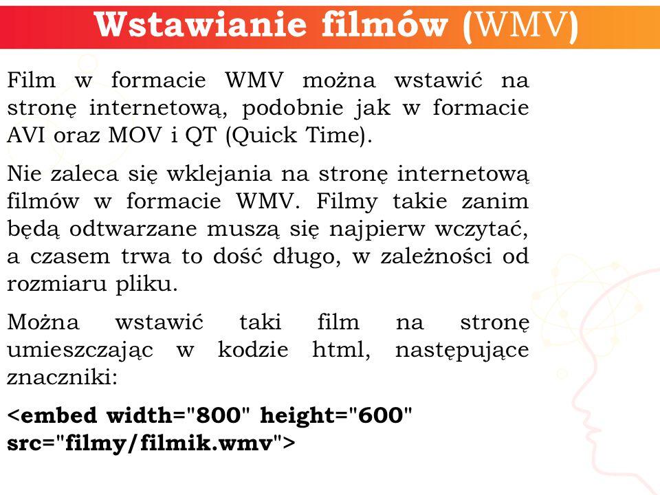 Wstawianie filmów (WMV)