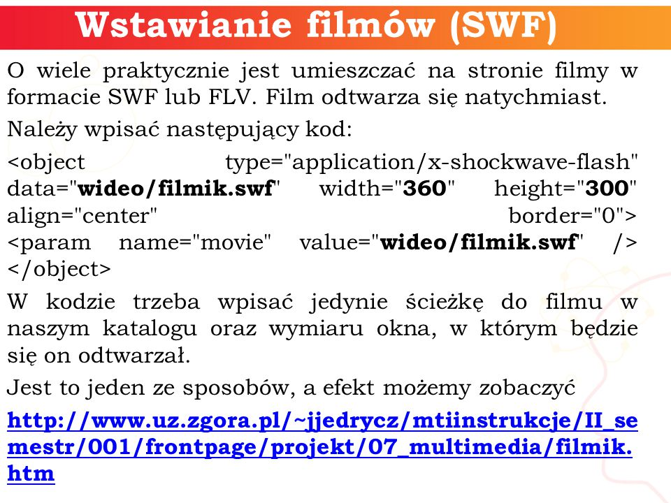 Wstawianie filmów (SWF)