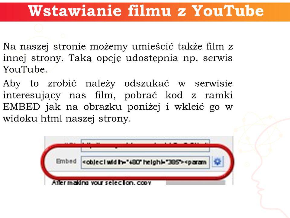 Wstawianie filmu z YouTube