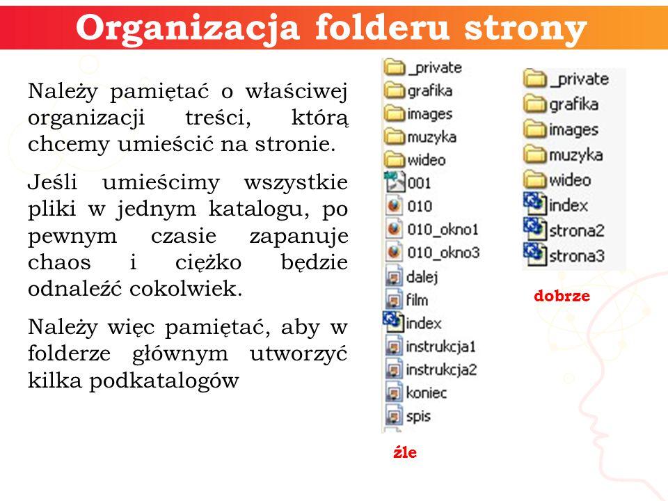 Organizacja folderu strony